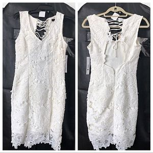 Aqua white lace floral dress *New*